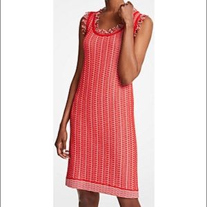 Ann Taylor Red Fringe Sweater Shift Dress